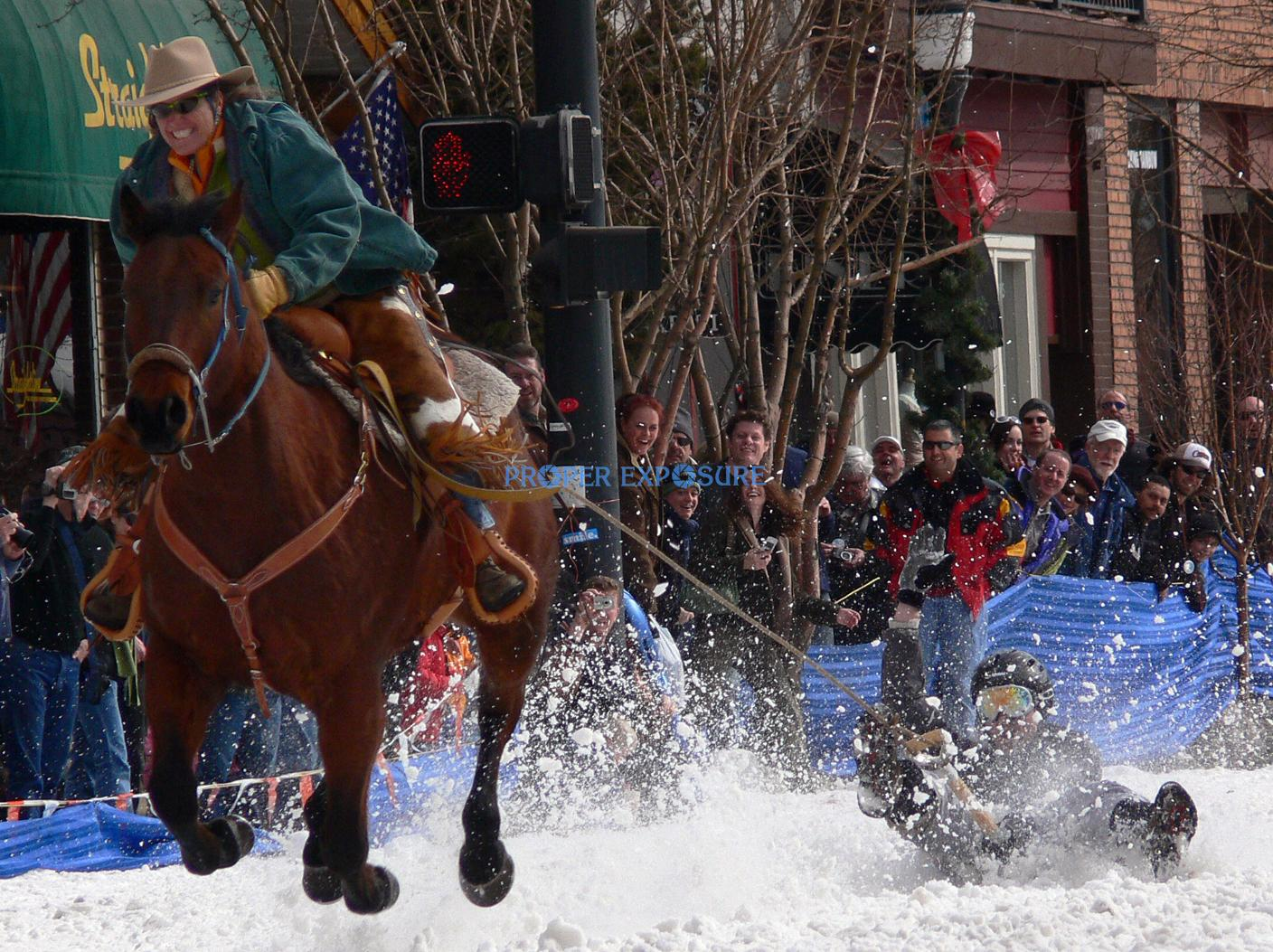 Horse, horse rider, shovel, race, Winter Carnival, street event, cowboy, downtown, Steamboat Springs, Colorado