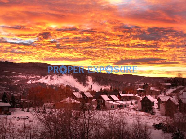 Sunset, Howelsen, Hill, downtown, Steamboat, Springs, winter, snow, Ken Proper