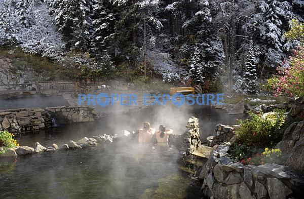 Strawberry, Park, Hot, Springs, Steamboat, Springs, Colorado, CO, Routt, County, Mineral, water, swimming, pool, pools, Ken Proper, soak, bath, snow, flowers, couple, romantic, steam