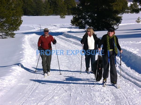 Nordic, Classic, skiers, couple, lifestyle, tour, ski, skis, track, man, two woman, Hahns, Peak, Steamboat Lake, sunny, blue sky