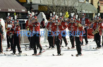 Steamboat Springs, Colorado, Downtown, Rocky Mountains, winter, Carnival, parade, High School, Ski, Band