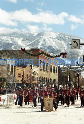 Steamboat Springs, Colorado, Downtown, Rocky Mountains, winter, Carnival, High School, ski, band