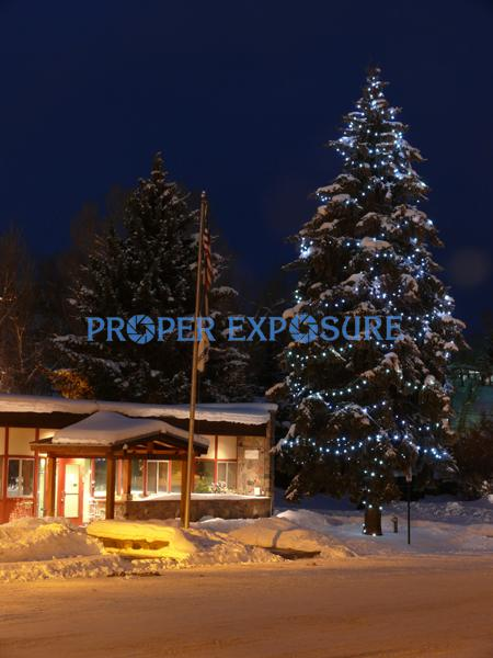 winter, snow, Steamboat, Steamboat Springs,  Colorado, downtown, City, Hall, offices, Christmas, tree, lights, decoration, decorative,