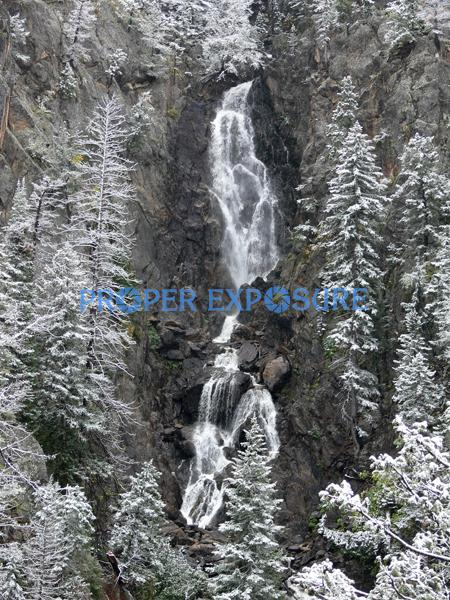 Fish Creek Falls, snow, water, rocks, Steamboat, CO,