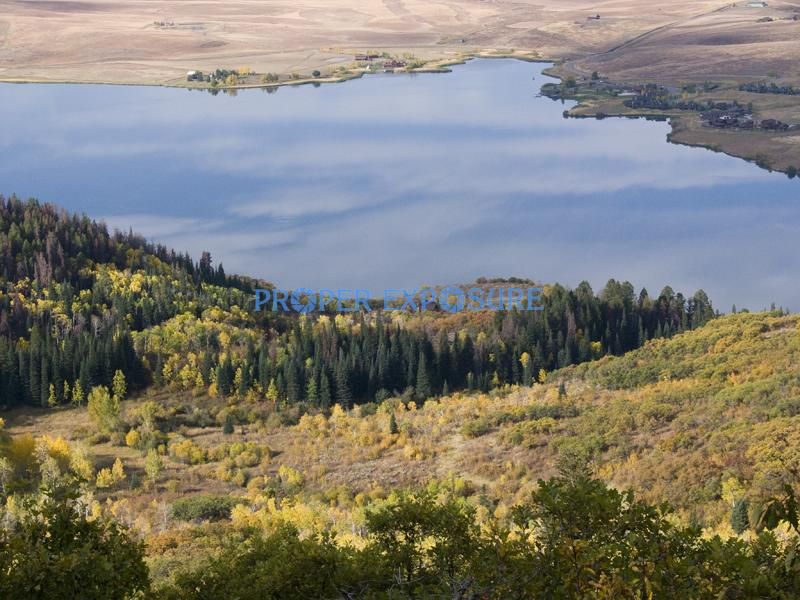Lake, Catamount, fall, foliage, aspen, evergreen, spruce, scrub oak, clouds, blue, sky, reflection, Yampa, valley, ranches