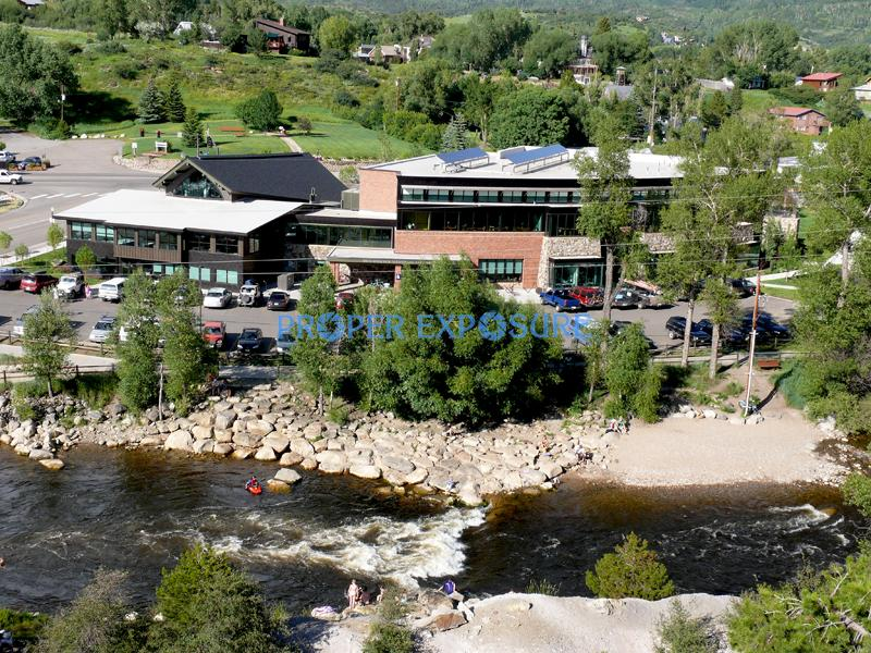 Bud Werner Memorial, Library, Yampa, River, summer, kayak, swimmers, green, blue, sky, Steamboat Springs, Colorado