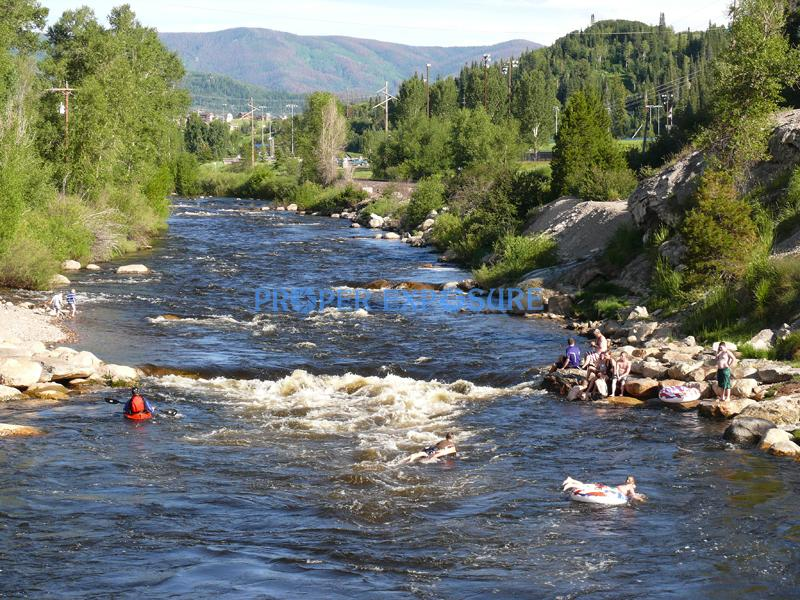Yampa, River, summer, kayak, swimmers, green, blue, sky, Steamboat Springs, Colorado, Ken Proper, recreation, float, tube