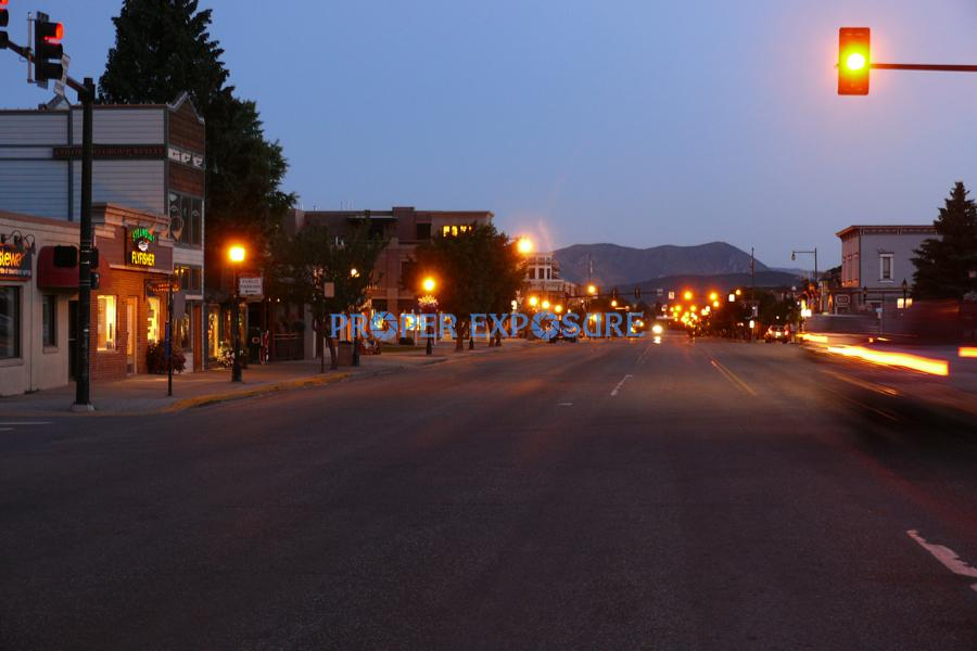 Lincoln, Avenue, main, street, Steamboat Springs, Colorado, CO, Ken Proper, dawn, lights, cars, sleeping giant, summer, blue, sky