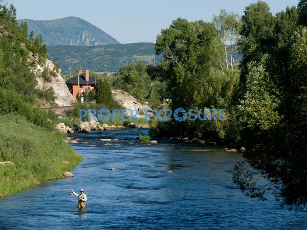 Yampa, River, flyfishing, fishing, water, blue, sky, Depot, art, center, Steamboat, Springs, Routt, county, trees, pines