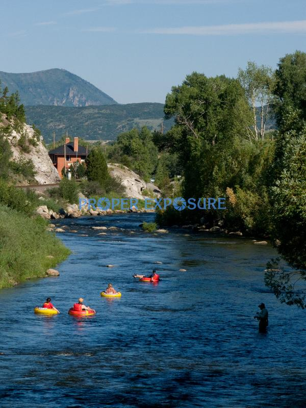 Yampa, River, flyfishing, fishing, water, blue, sky, Depot, art, center, Steamboat, Springs, Routt, county, trees, pines, tubing, floating