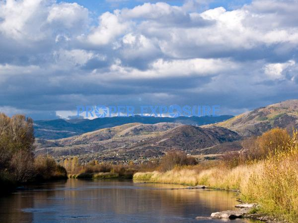 Yampa; River; Routt County; water; fall; foliage; fishing; clouds; blue; sky; Steamboat Springs; CO; Colorado; reflection, horizontal