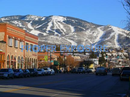 Steamboat, Ski, Area, Mountain, blue, sky, no clouds, downtown, Lincoln, Avenue, cars, trucks, business, retail, sunny
