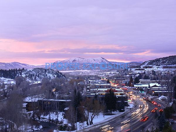 downtown, sunset, Lincoln, Avenue, main street, sleeping giant, Steamboat Springs, Colorado, Rocky  Mountain, Ken Proper