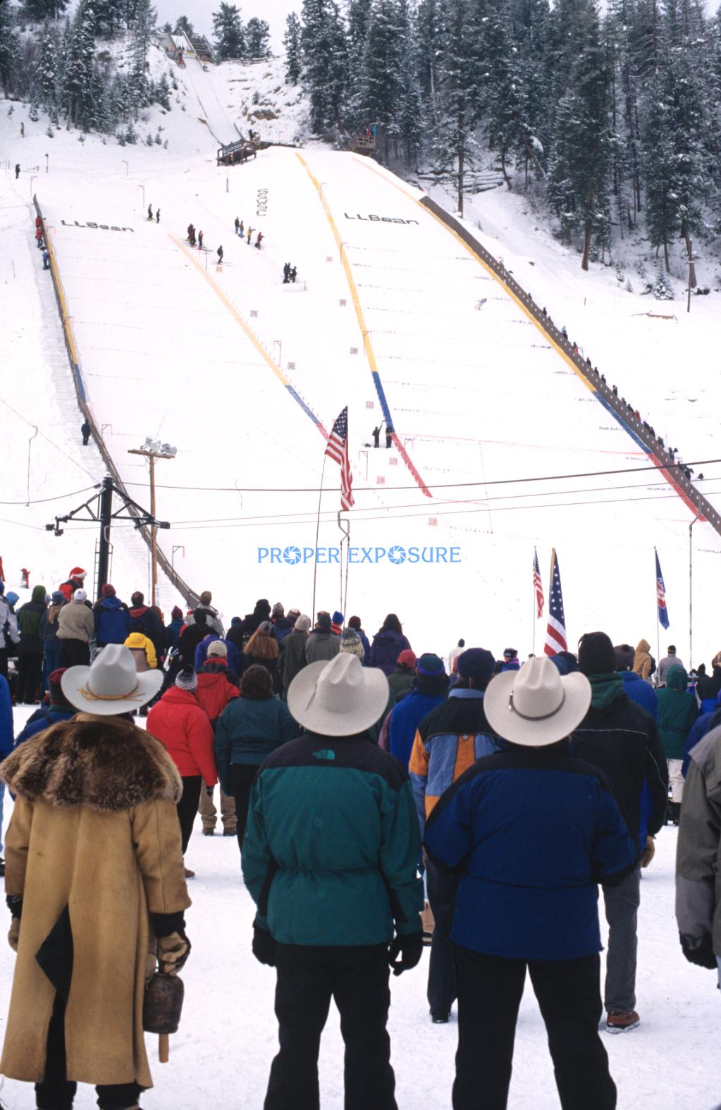 World cup, jumping, crowd, skiing, Howelsen, Howelson, Hill, cowboy, event, Steamboat Springs, Colorado, Rocky  Mountain, Ken Proper