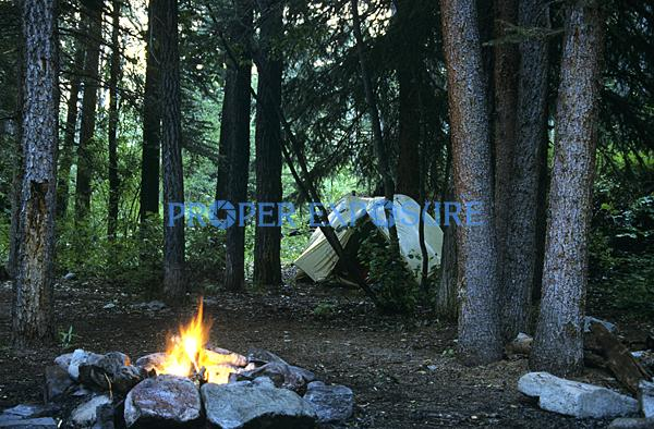 Camping, tent, campfire,Ken Proper, Steamboat Springs, Colorado, Rocky Mountains, USA