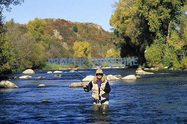 lady, women, flyfisher, flyfishing, Yampa River, Steamboat Springs, Colorado, Routt County,Rocky Mountains, Ken Proper,